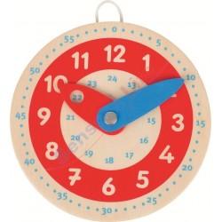Drewniany zegar czerwona tarcza